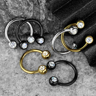 6 Pcs Front Facing CZ Ball Horseshoes Septum Cartilage Nipple Rings