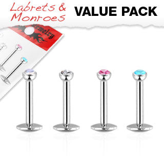 Value Pack 4 Pcs Internal Threaded CZ Lip Labret Monroe Studs 5/16