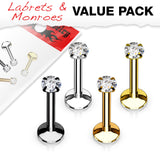 Internally Threaded CZ Top Labret Monroe Ear Cartilage Studs
