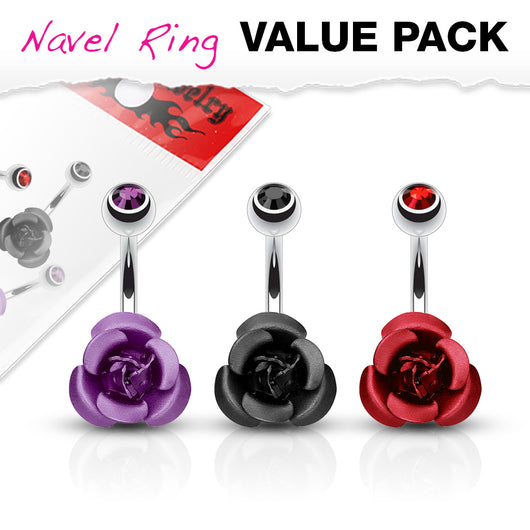 3 Pc Pack Of Mate Titanium Rose CZ Navel Belly Button Rings