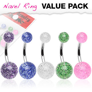 5 Pc Pack Of Ultra Glitter Ball Navel Belly Button Rings
