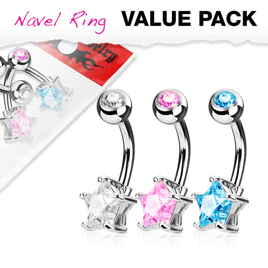 3 Pc Value Pack Of Star CZ  Navel Belly Button Rings