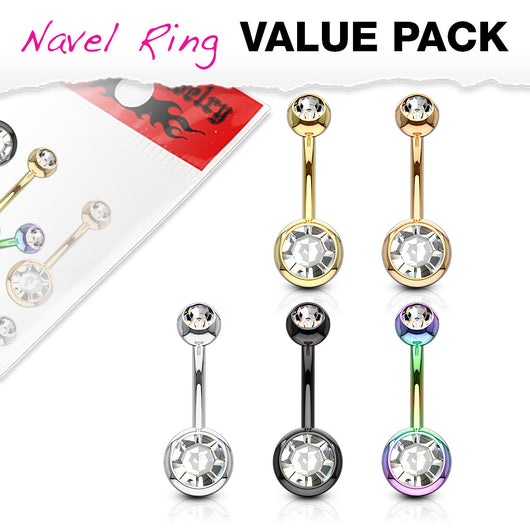 5 Pc Value Pack Of Titanium Double CZ  Navel Belly Button Rings