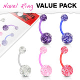 5 Pc Value Pack Of BioFlex Glitter Navel Belly Button Rings