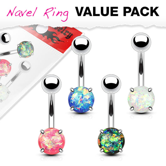 4 Pc Value Pack Of Opal Glitter Navel Belly Button Rings
