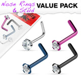 Value Pack 4 pcs Titanium Prong Set CZ L Bend  Nose Stud Rings