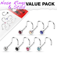 7 Pcs Set Surgical Steel Assorted 2 MM CZ Nose Screws