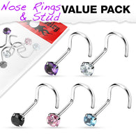 5 Pcs Set Surgical Steel Prong Set 3 MM CZ Nose Screws