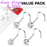 Pack Of 4 Pcs Assorted Prong Set CZ Shape Nose Screws