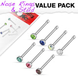 Value Pack Of 7 Pcs 2 mm CZ Top Nose Bone Stud Rings
