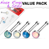 Value Pack Of 4 pcs Opalite Stone Nose Stud Rings