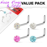 "Value Pack 4 pcs Ferido Ball ""L"" Bend Nose Stud Rings"