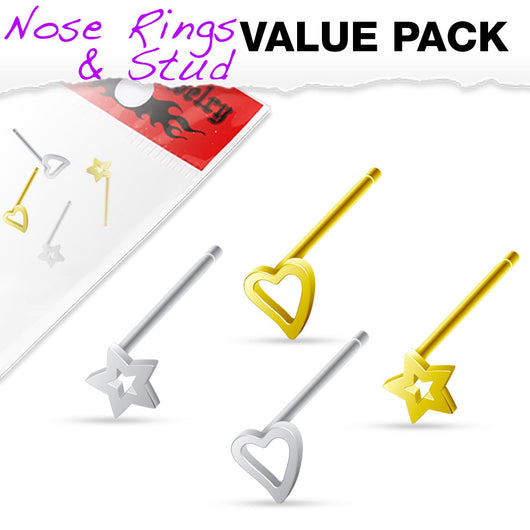 Value Pack 4 Pcs 925 Sterling Silver Bendable Nose Stud Rings