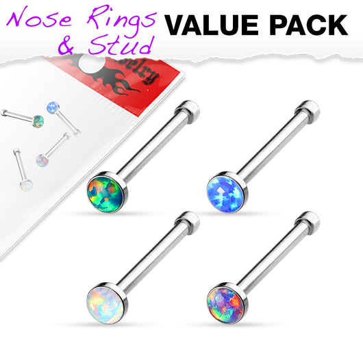 Value Pack 4 pcs Synthetic Opal Surgical Steel Nose Stud Rings