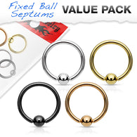 4 Pc Value Pack 20G Fixed Ball Hoop Captive Ring Nose Tragus Helix Eyebrow