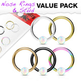 5 Pc Value Pack 20G Opal Fixed Hoop Captive Ring Nose Tragus Helix