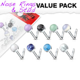 Pack Of 8 Pcs Assorted Semi Precious Stone Set L Bend Nose Stud Rings 20G