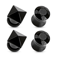 4 Pc Value Pack Of Black Agate Faceted Stone Ear Plugs Ear Tapers 2G