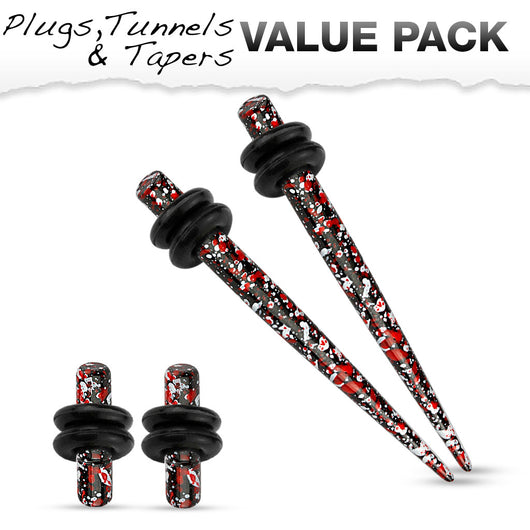 Value Set Of Red / Black Splatter Over Surgical Steel Ear Plugs Ear Tapers
