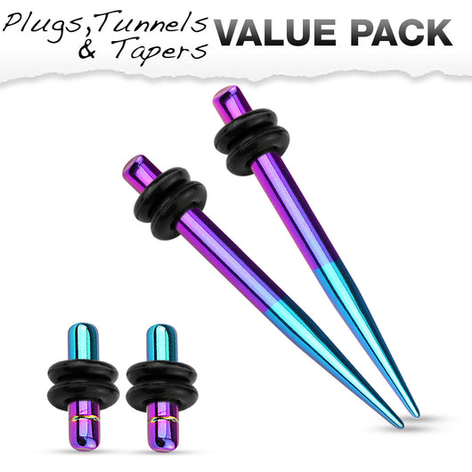 Value Pack Of Purple Aqua 2 Tone Titanium Ear Plugs Ear Tapers