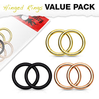 3 Pairs Value Pack Precision Hinge Action Segment Rings Ear Nose Lip