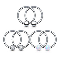 6 Pc Value Pack Opal CZ Fixed Captive Bead Ring Hoop Nose Tragus Helix