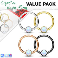 4 Pc Value Pack 16G Opal Captive Hoop Ring Nose Tragus Helix Eyebrow