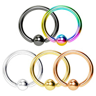 5 Pc Value Pack Titanium Captive Ring Hoop Nose Tragus Helix