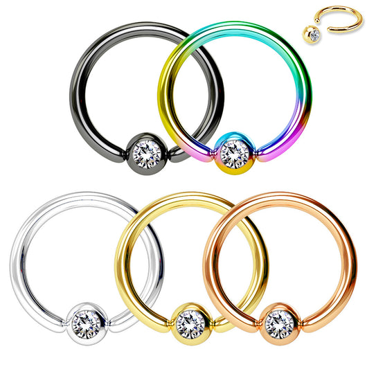 5 Pc Value Pack CZ Ball Titanium Captive Ring Hoop Nose Tragus Helix Septum