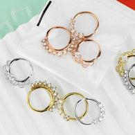 3 Pc Mixed Half Circle Bendable CZ Nose Septum Cartilage Hoop Free Retainer