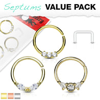 3 Pc Assorted Half Circle Bendable Nose Septum Cartilage Hoop Free Retainer