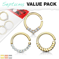 3 Pc Value Pack Nose Septum Cartilage Tragus Ear Hoop 16G 8 mm
