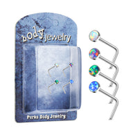 4 Pc 20G Opal Surgical Steel L Bend Nose Stud Rings Box