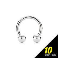 10 Pc of Basic 316L Surgical Steel Horseshoe Circular Barbells 14GA