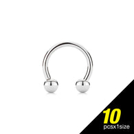 10 Pc of Basic 316L Surgical Steel Horseshoe Circular Barbells 16GA