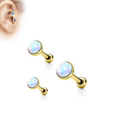 White Opal Gold Set Cartilage Triple Helix Tragus Barbell Studs 18GA