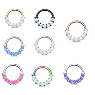7 Opal Front Facing Set All Surgical Steel Bendable Nose Septum Ring Daith