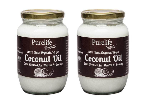2 pack Raw Organic Virgin Coconut Oil - Pure Life Tropics Coconut Oil