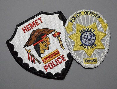 Hemet California Police Patch Set ++ Brown Mountains Riverside County CA
