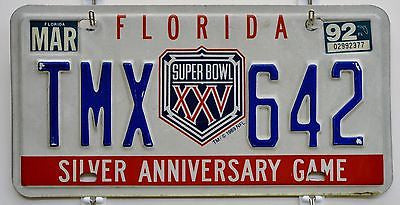 Rare Florida NFL Super Bowl XXV Silver Anniversary Game License Plate