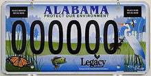 Alabama Protect Our Environment Legacy Sample License Plate Tag