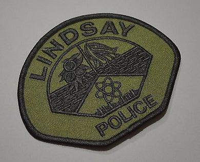 Lindsay California Police Subdued Patch ++ Mint Tulare County CA HTF