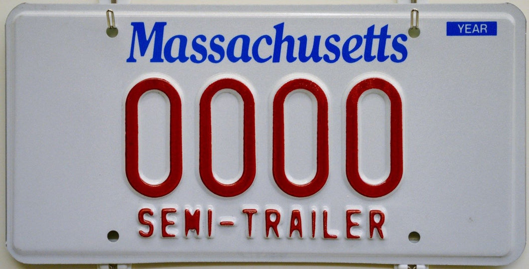 Massachusetts SEMI-TRAILER DMV Sample License Plate ++ Mint MA HTF