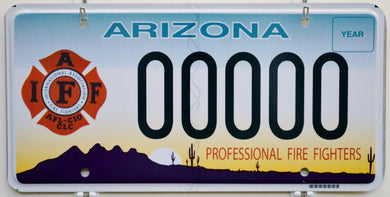 Arizona PROFESSIONAL FIRE FIGHTERS Sample License Plate Tag ++ AZ FF