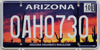Arizona Highways Magazine License Plate ++ Beautiful Desert Sunset Cactus Scene