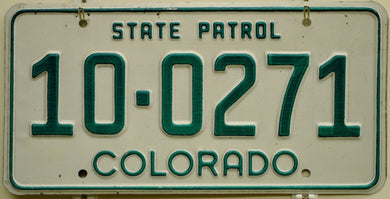 1983-1989 Series Colorado State Patrol License Plate Tag # 10-0271