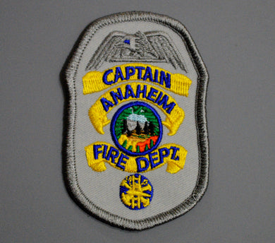 Anaheim California Fire & Rescue CAPTAIN Badge Patch ++ Orange County CA