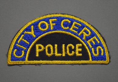 Ceres California Police Patch ++ o/s 1st Issue Mint Merced County CA