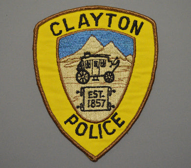 Clayton California Police Patch ++ o/s Gold Twill version