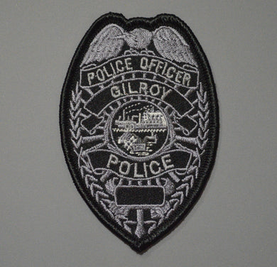 Gilroy California Police Officer Subdued Badge Patch
